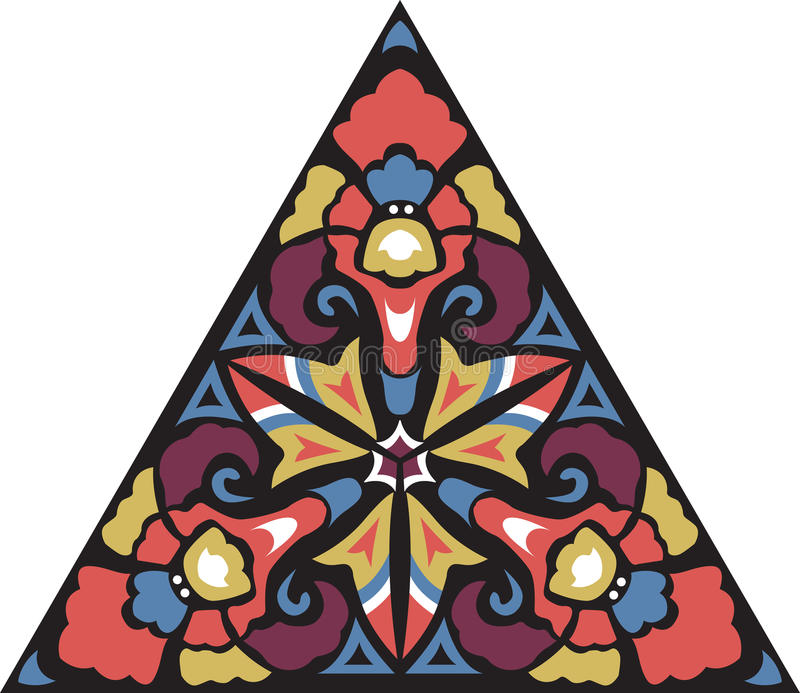 Modell för orientalisk traditionell blomma för vektor triangulär vektor illustrationer
