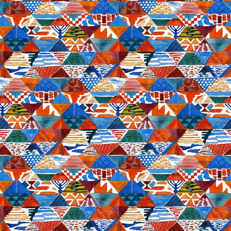 Modell för patchwork för vattenfärgikatkilim etnisk sömlös stock illustrationer