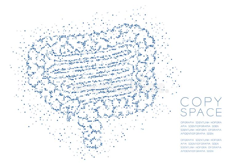 Modell för PIXEL för fyrkantig ask för inälvaform abstrakt geometrisk, för organbegrepp för medicinsk vetenskap illustration för  stock illustrationer