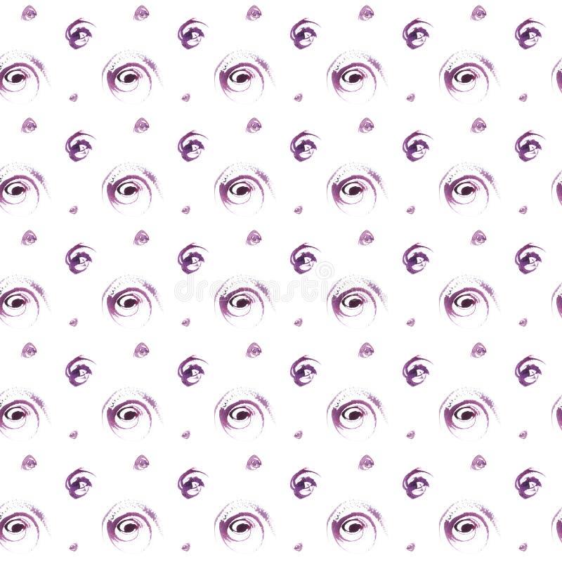 Modell för prickar för sömlös vattenfärg för hand utdragen purpurfärgad stock illustrationer