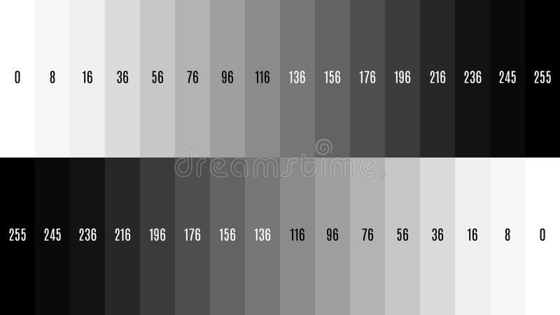 modell för prov för television för lutning för TV för 8K 7680x4320 svartvit som justerar skärmen, ton 0-255 royaltyfri illustrationer