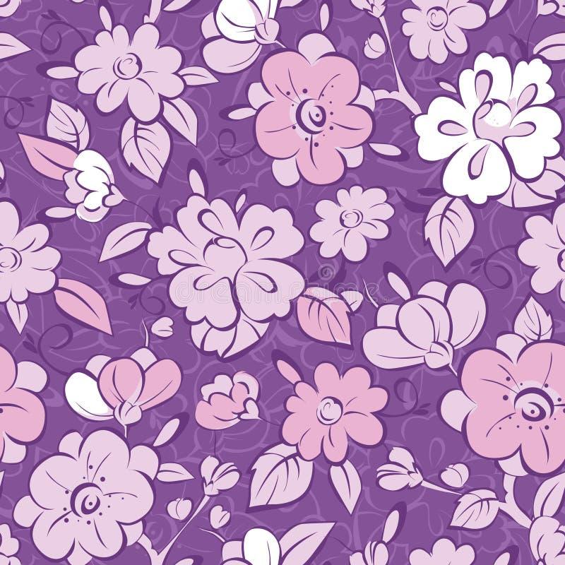 Modell för purpurfärgad kimono för vektor blom- sömlös vektor illustrationer