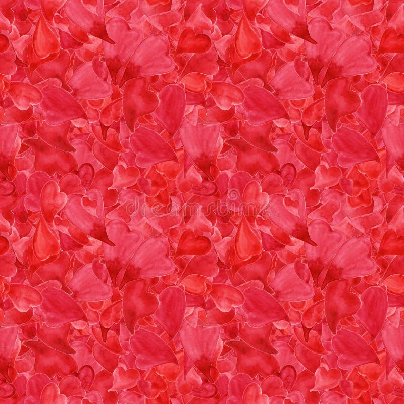 Modell för röd för hjärtor för vattenfärg sömlös Sankt för valentin dag för ` s royaltyfri illustrationer