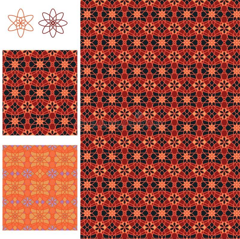 Modell för röd orange symmetri för stil för batik 8 för blomma 6 sömlös royaltyfri illustrationer