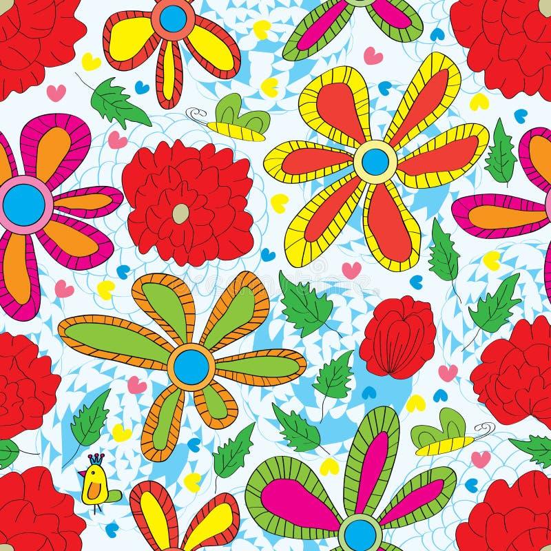 Modell för röd stil för blomma sömlös vektor illustrationer