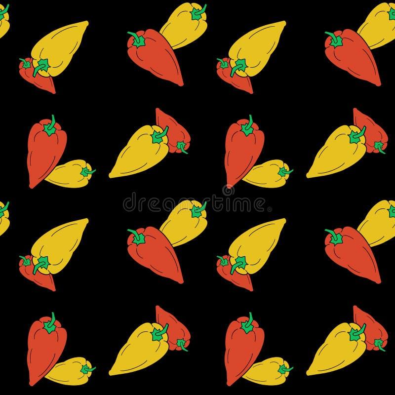 Modell för röda och gula peppar för utdragen klocka för hand sömlös på svart bakgrund stock illustrationer
