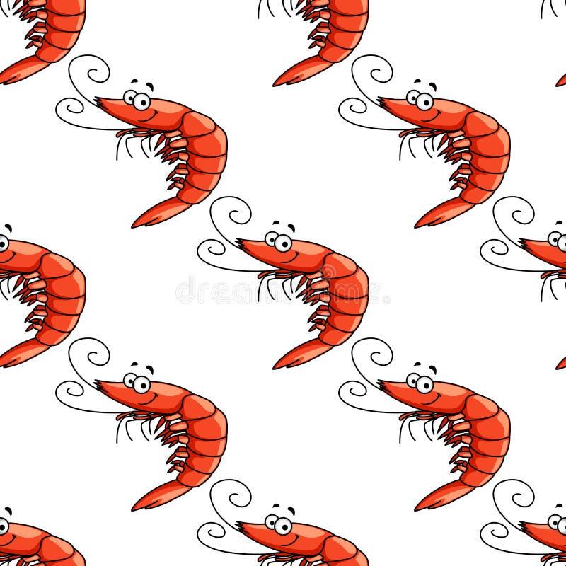 Modell för röda räkor för tecknad film sömlös stock illustrationer