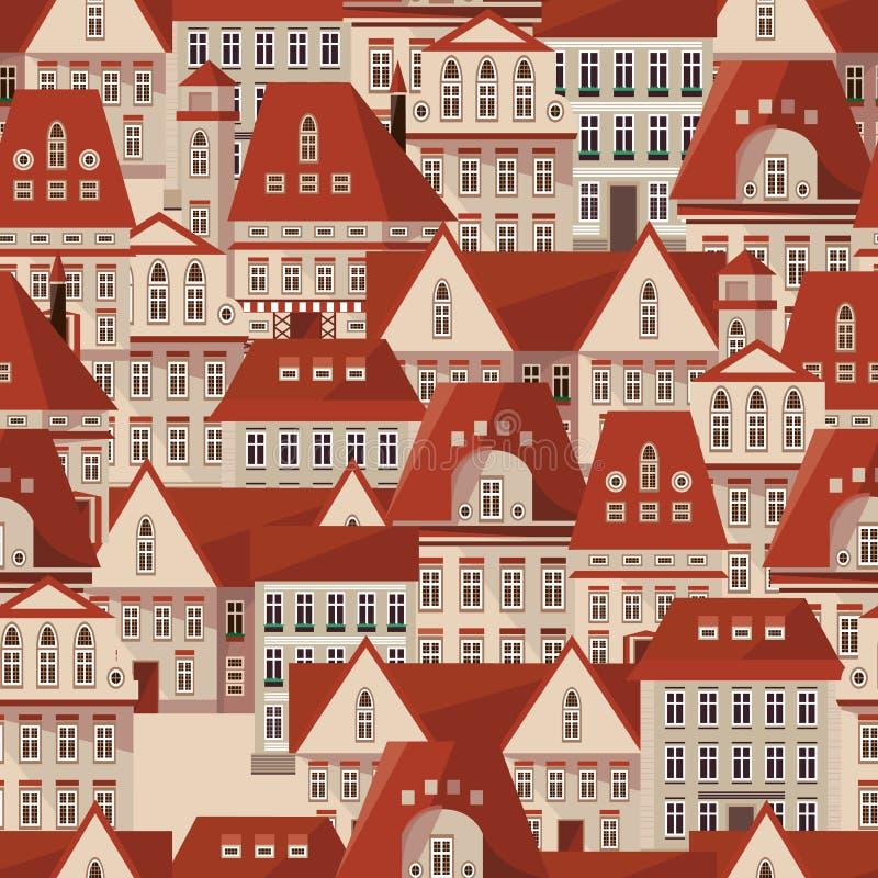 Modell för röda tak för vektor sömlös Modern radhuspanorama royaltyfri illustrationer