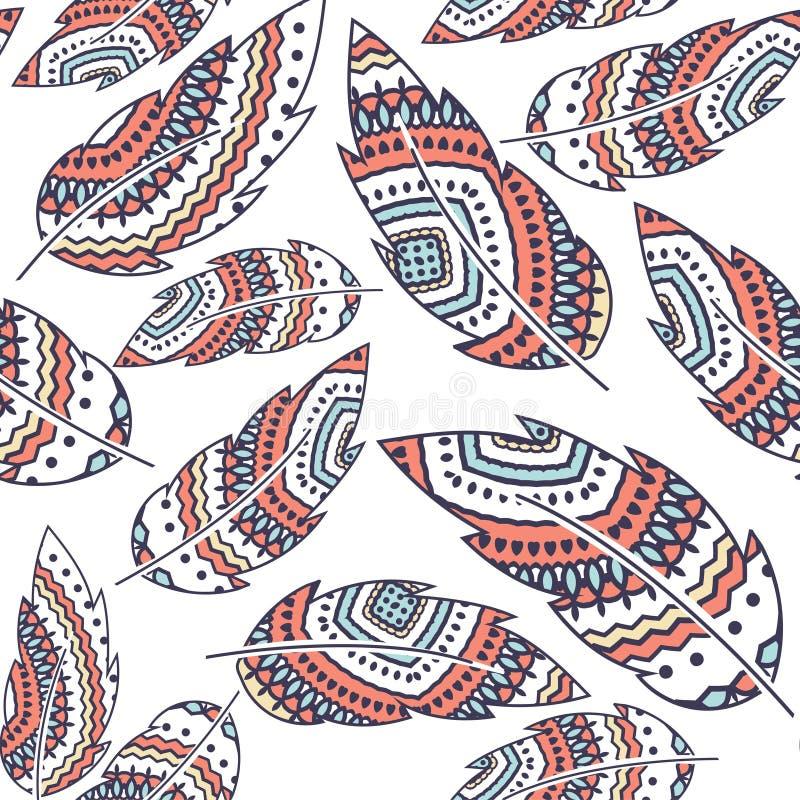Modell för repetition för Boho fjädervektor sömlös, etnisk stam- prydnad, detaljerad illustration royaltyfri illustrationer