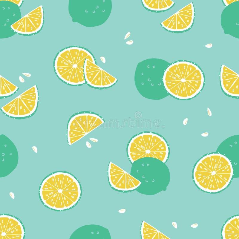 Modell för repetition för brunnsort för semesterort för strand för vektorgräsplanlimefrukt tropisk Passande för gåvasjal, textil  royaltyfri illustrationer