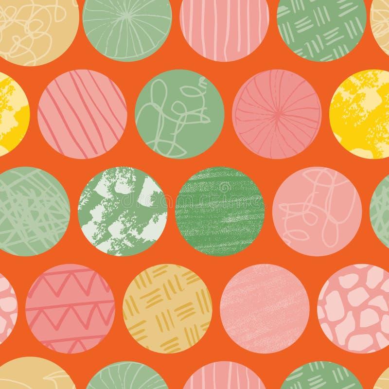 Modell för repetition för orange klottercirkel sömlös abstrakt stock illustrationer