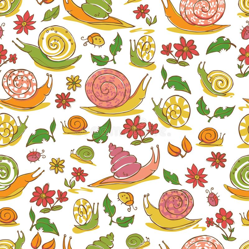 Modell för repetition för sniglar och för blommor för vit hand för vektor utdragen Passande för gåvasjal, textil och tapet royaltyfri illustrationer