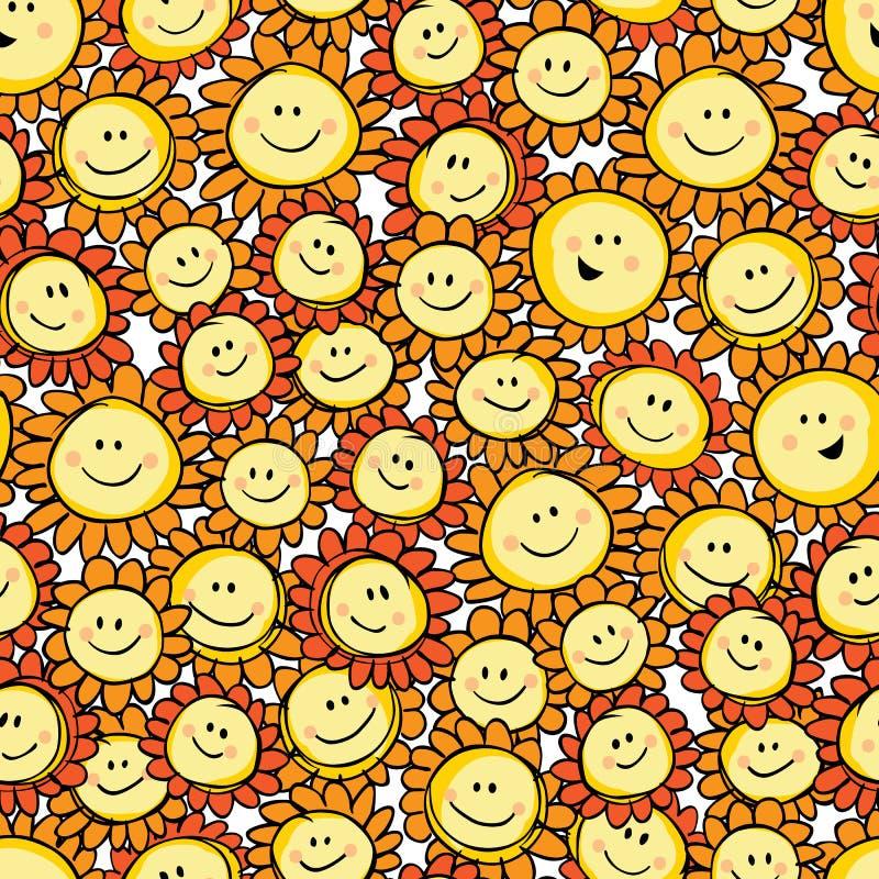 Modell för repetition för tecknad film för solros för gul hand för vektor utdragen Passande för gåvasjal, textil och tapet vektor illustrationer