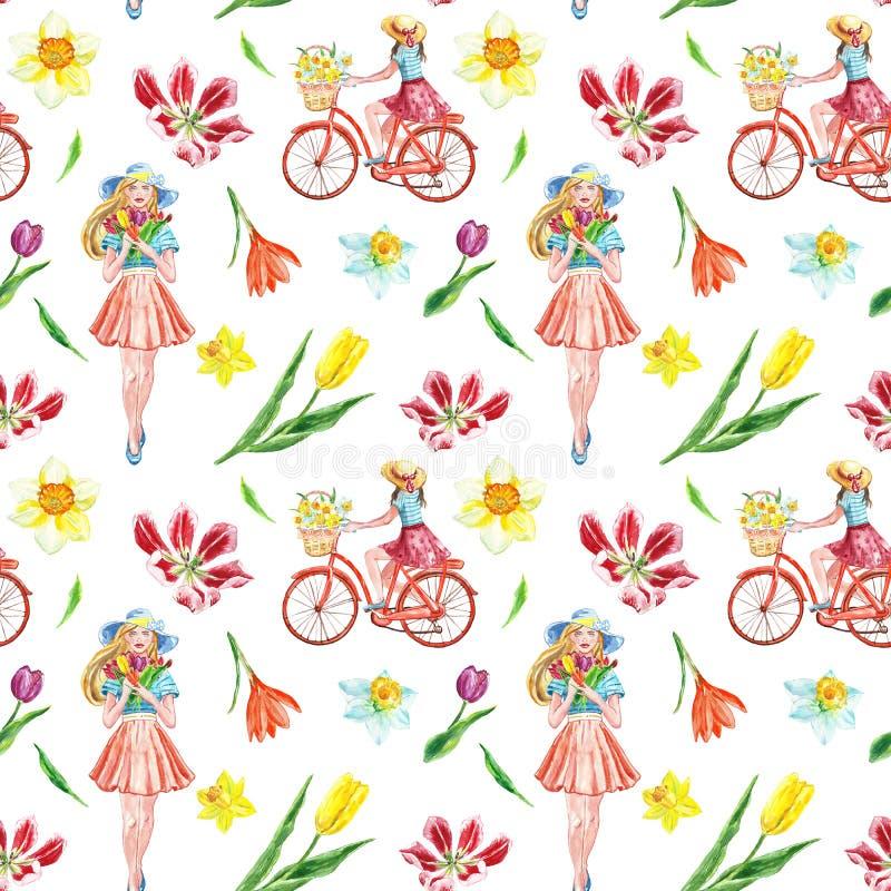 Modell för ritt för vattenfärgvårcykel sömlös med den gulliga flickan och färgrika blommor på vit bakgrund vektor illustrationer