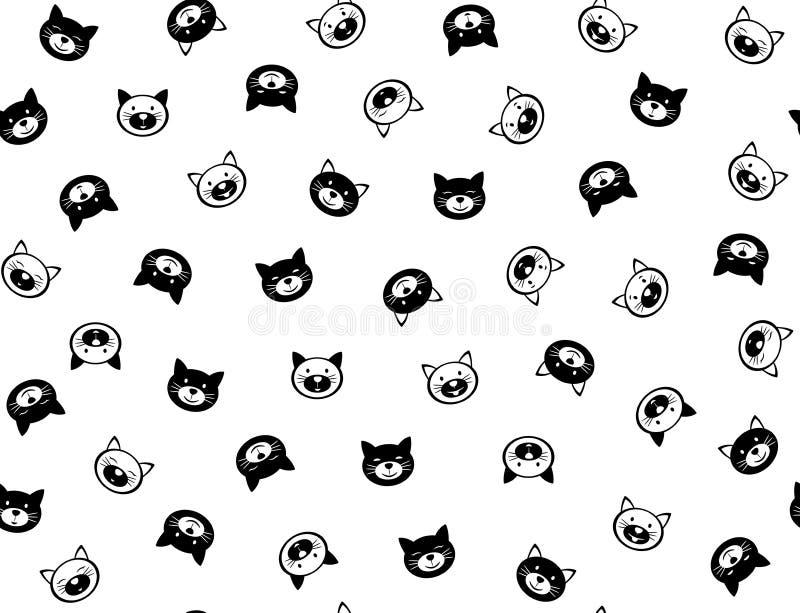 Modell för roliga katter för vektor sömlös vektor illustrationer