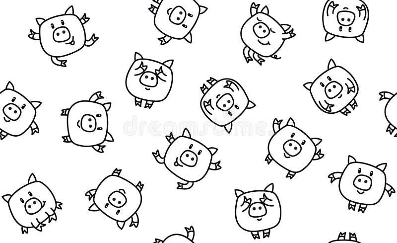 Modell för roliga svin för vektor sömlös vektor illustrationer