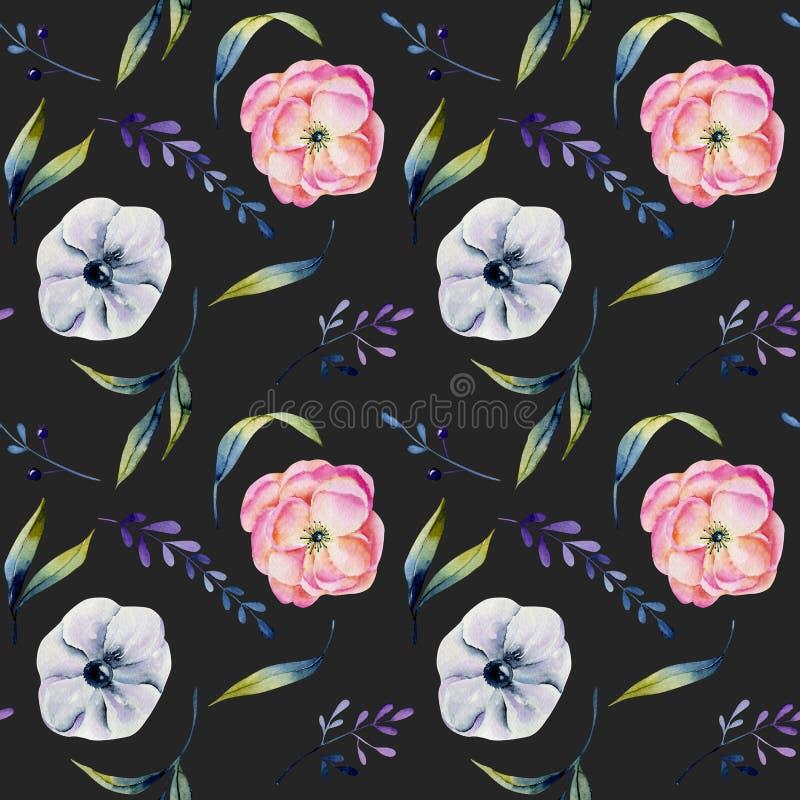 Modell för rosa pioner för vattenfärg sömlös och för vita anemoner royaltyfri illustrationer