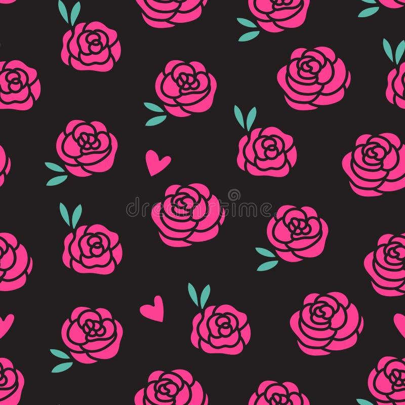 Modell för rosa rosor för vektor som sömlös isoleras på svart bakgrund stock illustrationer