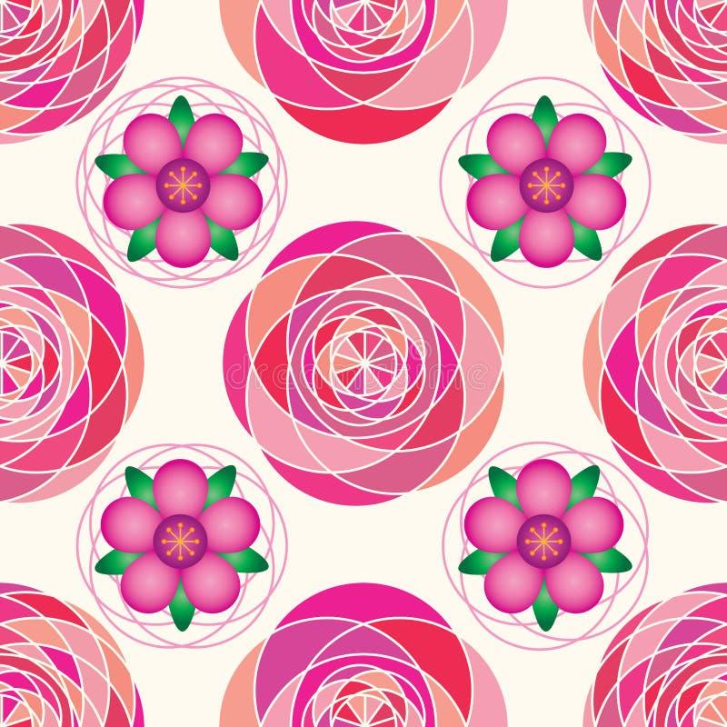 Modell för rosa symmetri för geo för blommalutning sömlös stock illustrationer