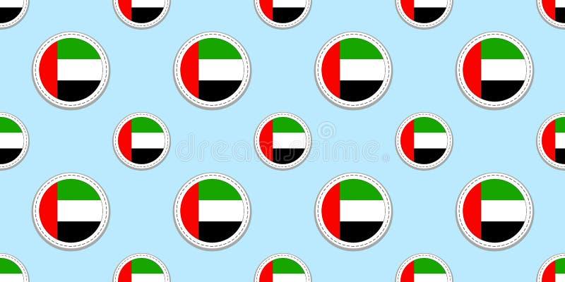 Modell för rund flagga för UAE sömlös Den Förenade Arabemiraten bakgrunden Vektorcirkelsymboler Geometriska symboler Textur för s royaltyfri illustrationer