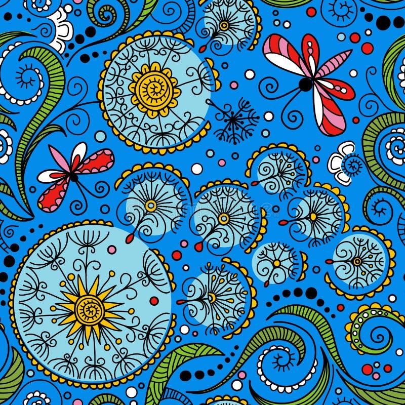 Modell för sömlös färg för vektor blom- royaltyfri illustrationer