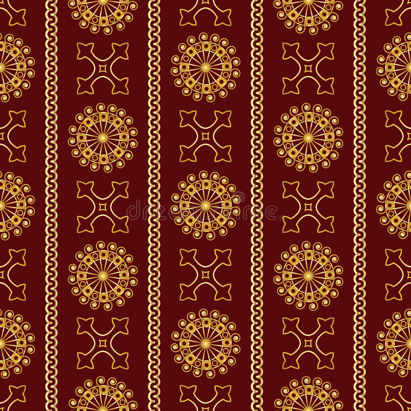 Modell för sömlös guld- tappning för vektor dekorativ på mörker - röd bakgrund vektor illustrationer
