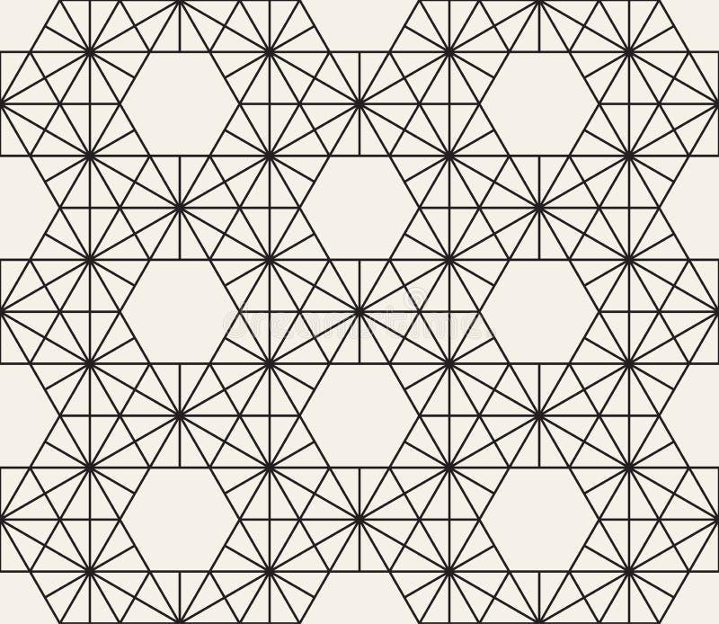 Modell för sömlös sexhörning för vektor geometrisk Enkla abstrakta linjer galler Upprepa stilfull bakgrund för beståndsdelar royaltyfri illustrationer