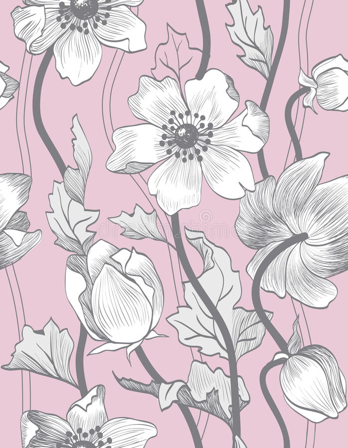 Modell för sömlös tappning för vektor blom- royaltyfri illustrationer