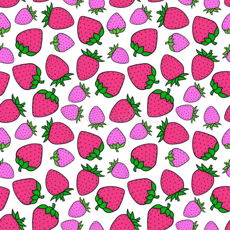 Modell för söt rosa färg för jordgubbe sömlös Designen ytbehandlar textur tecknad white för vektor för handillustrationbrevlåda stock illustrationer