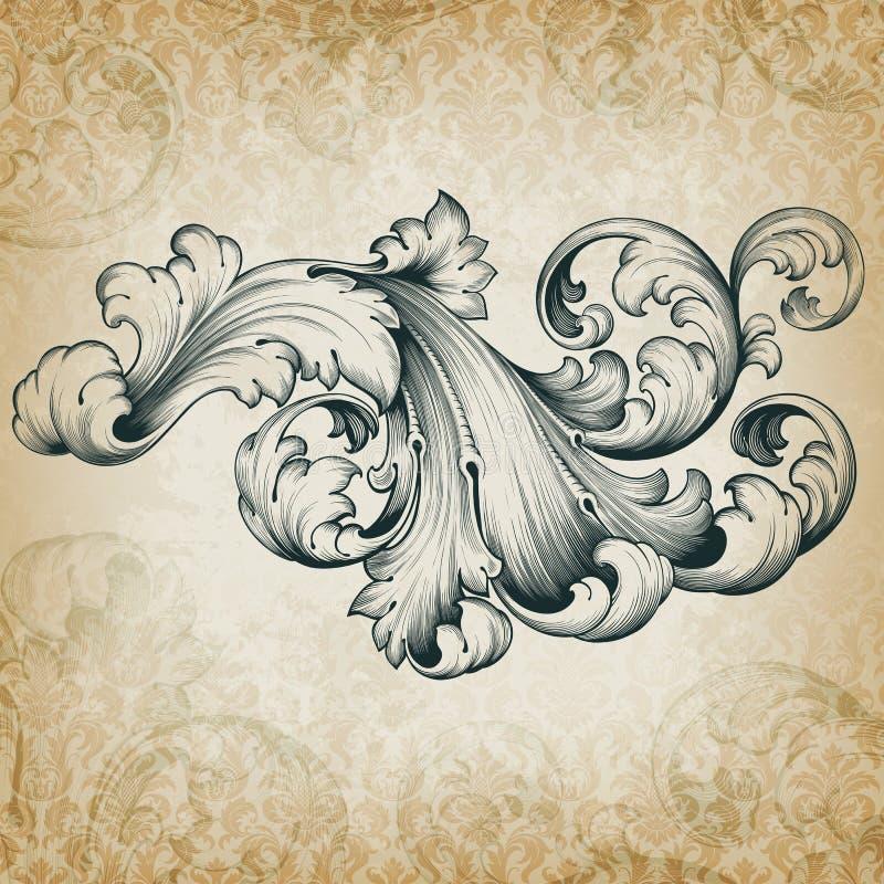 Modell för scroll för vektortappning barock blom- stock illustrationer
