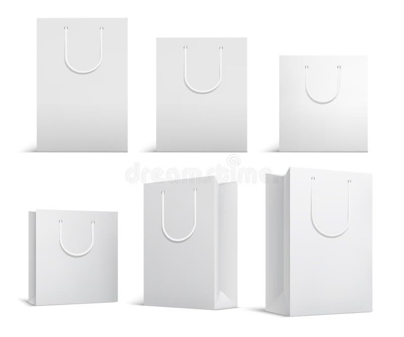 Modell för shoppingpåse Vita tomma papperpåsar Shoppa produktpacken för företags märkesvektormall vektor illustrationer