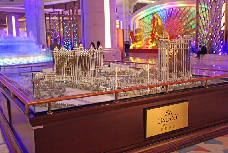 Modell för skärm för galaxkasino- och hotellbyggnad mini-, Macao royaltyfria bilder