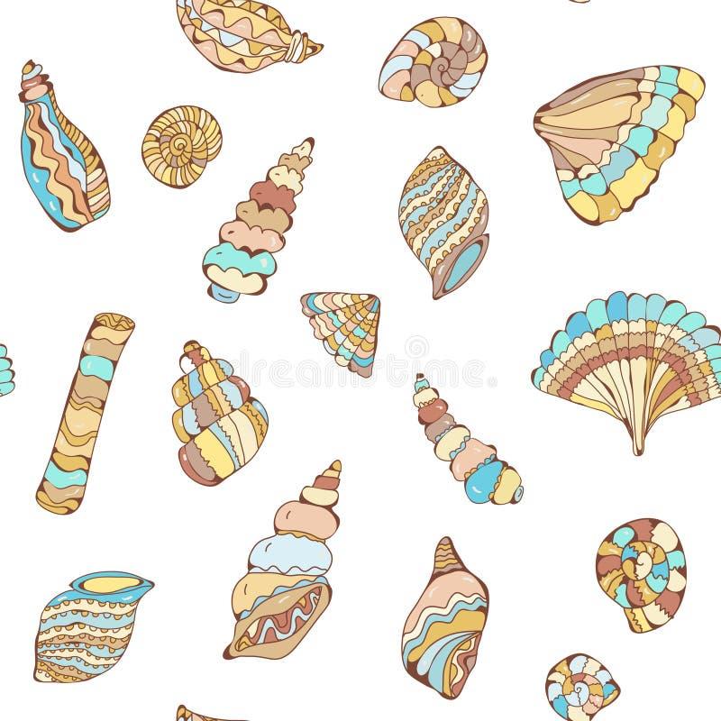 Modell för skalcolectionsseamles i pastellfärgade färger, grafisk illustration vektor illustrationer