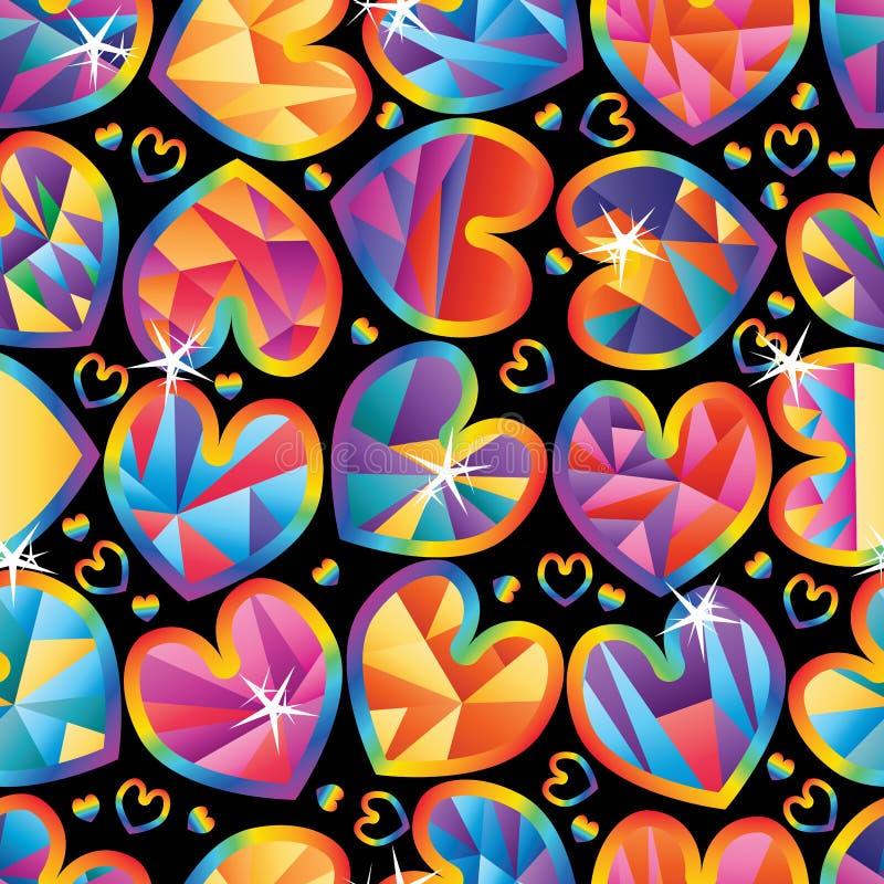 Modell för slaglängd för regnbåge för snitt för förälskelsetriangel sömlös stock illustrationer