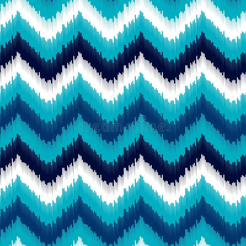 Modell för sparre för blått och vitt ikatabstrakt begrepp för person som tillhör en etnisk minoritet geometrisk, vektor stock illustrationer