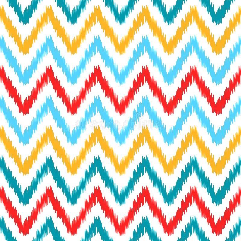 Modell för sparre för etniskt färgrikt ikatabstrakt begrepp geometrisk i vit, blått, rött och gult, vektor illustrationer