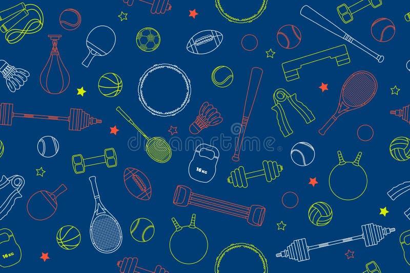 Modell för sportutrustning Uppsättning av färgrika sportbollar och dobbelobjekt på en blå bakgrund Ämne av kondition, sport royaltyfri illustrationer