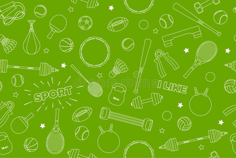 Modell för sportutrustning Uppsättning av färgrika sportbollar och dobbelobjekt på en grön bakgrund Ämne av kondition, sport royaltyfri illustrationer