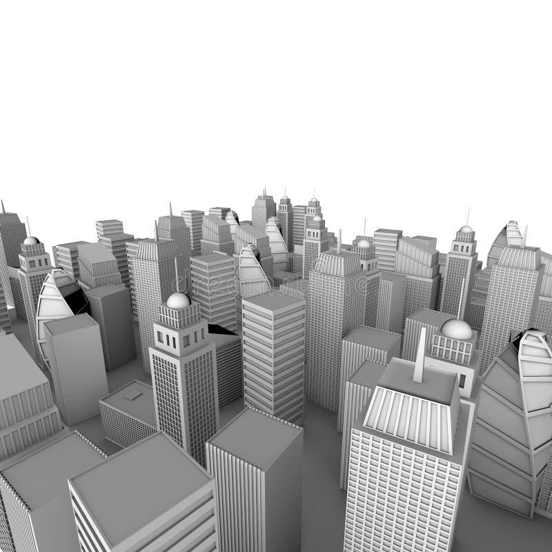 modell för stad 3d vektor illustrationer