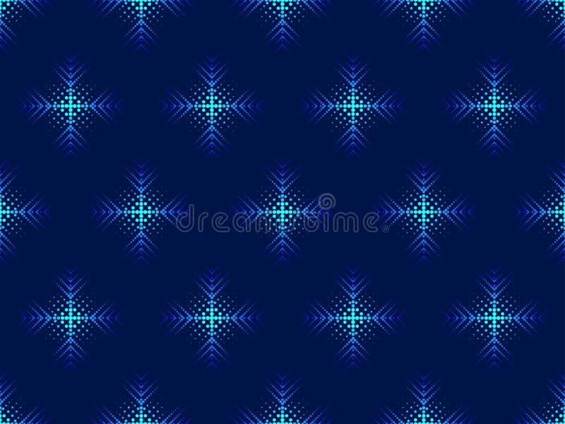 Modell för stil för snöflingapopkonst sömlös prickigt vita röda stjärnor för abstrakt för bakgrundsjul mörk för garnering modell  vektor illustrationer