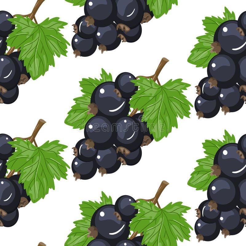 Modell för svart vinbär för vektor sömlös Bakgrundsdesign för te, glass, naturliga skönhetsmedel, godis och bageri med stock illustrationer