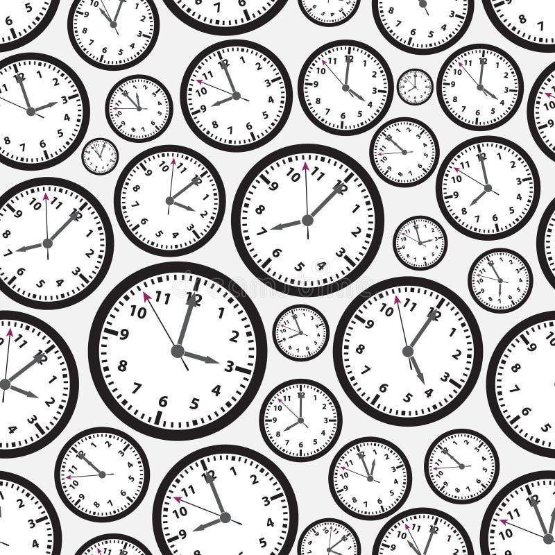 Modell för svartvit klocka för tidszoner sömlös vektor illustrationer