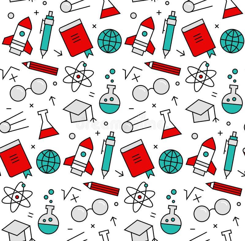 Modell för symboler för vetenskapsbeståndsdelar sömlös royaltyfri illustrationer