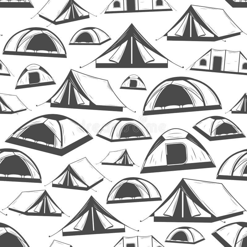 Modell för tält för vektor campa sömlös stock illustrationer