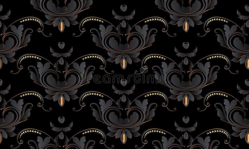 Modell för tappning för mörk svart blom- sömlös Vektordamastbackgr royaltyfri illustrationer