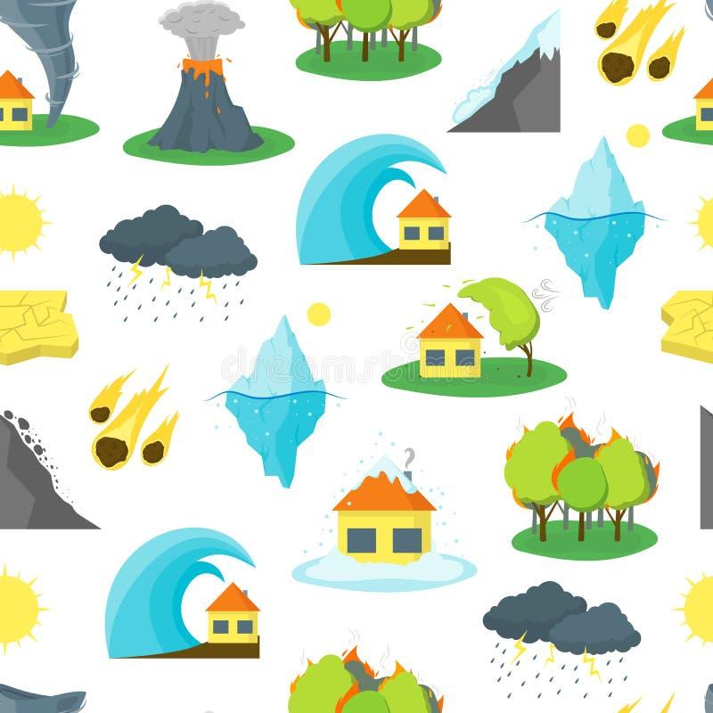 Modell för tecknad filmnaturkatastrofbakgrund vektor stock illustrationer