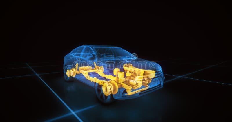 Modell för tråd för sportbil med blå bakgrund för neonobsvart arkivfoton