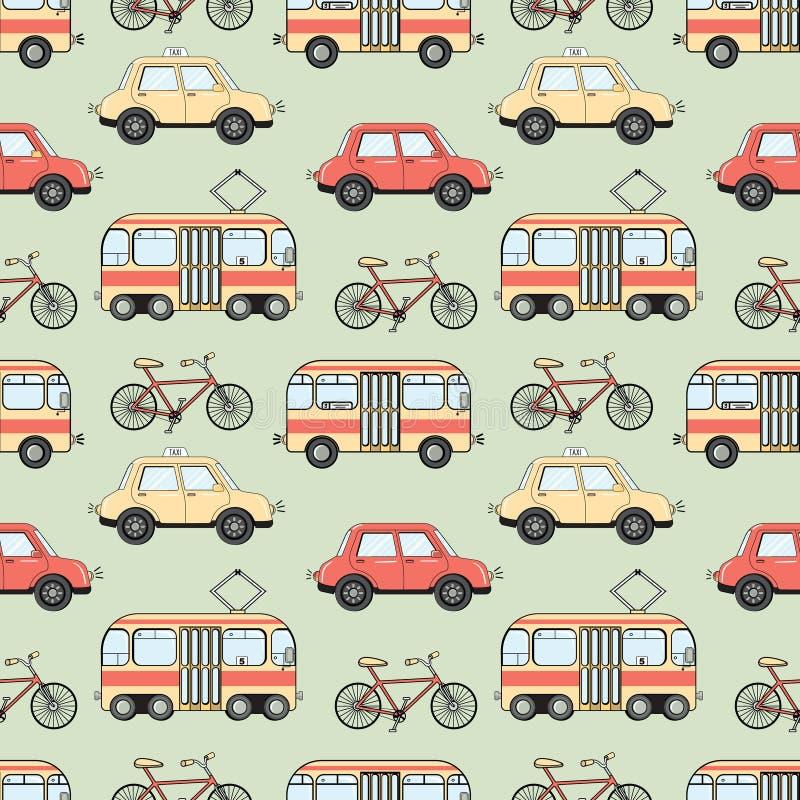 Modell för transport för tecknad filmstilstad sömlös stock illustrationer