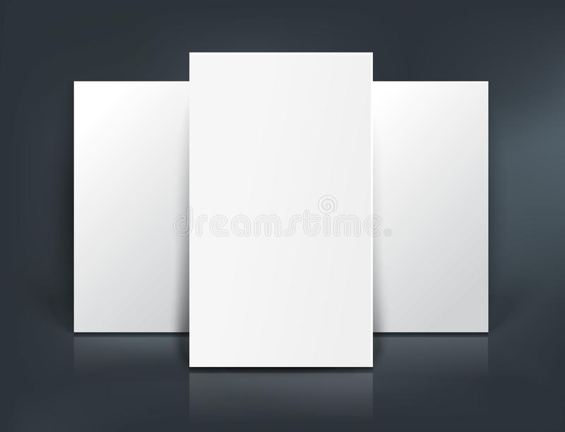 Modell för tre pappers- ark också vektor för coreldrawillustration stock illustrationer