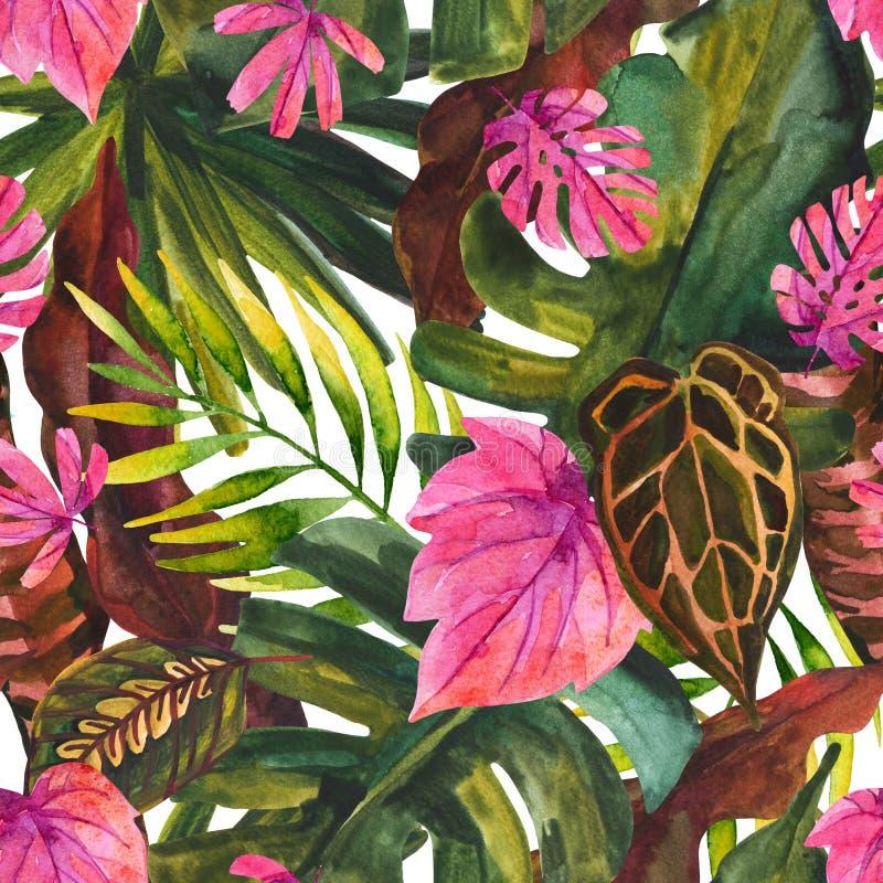 Modell för tropisk blom- målning för vattenfärg sömlös vektor illustrationer